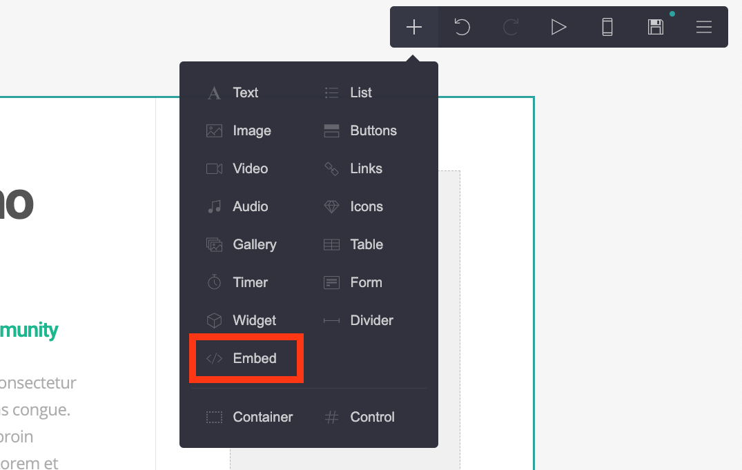 Choose an Embed element on Carrd.